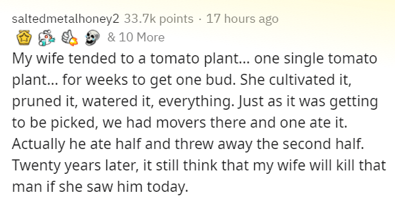 Text - saltedmetalhoney2 33.7k points · 17 hours ago & 10 More My wife tended to a tomato plant... one single tomato plant... for weeks to get one bud. She cultivated it, pruned it, watered it, everything. Just as it was getting to be picked, we had movers there and one ate it. Actually he ate half and threw away the second half. Twenty years later, it still think that my wife will kill that man if she saw him today.