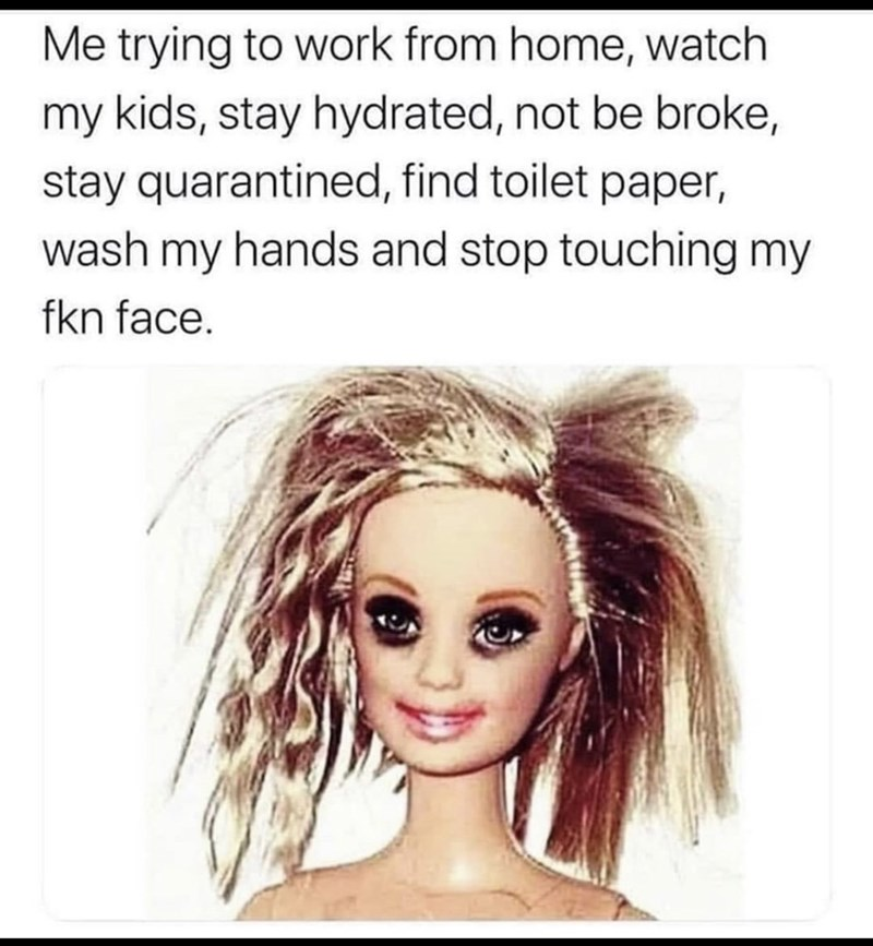 Hair - Me trying to work from home, watch my kids, stay hydrated, not be broke, stay quarantined, find toilet paper, wash my hands and stop touching my fkn face.