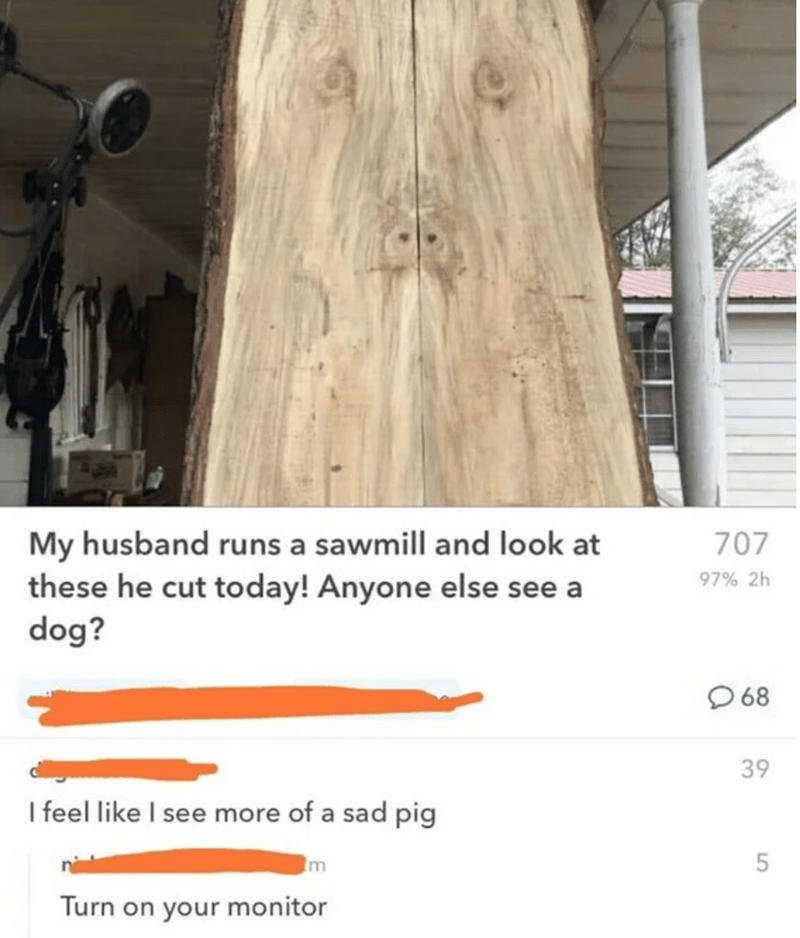 Wood - My husband runs a sawmill and look at these he cut today! Anyone else see a dog? 707 97% 2h O 68 39 I feel like I see more of a sad pig m Turn on your monitor 5.