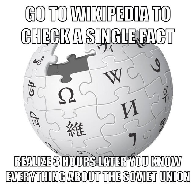 Text - GO TO WIKIPEDIA TO CHECKA SINGLE FACT W Ω И 維 REALIZE 3 HOURS LATER YOU KNOW EVERYTHING ABOUT THE SOVIET UNION
