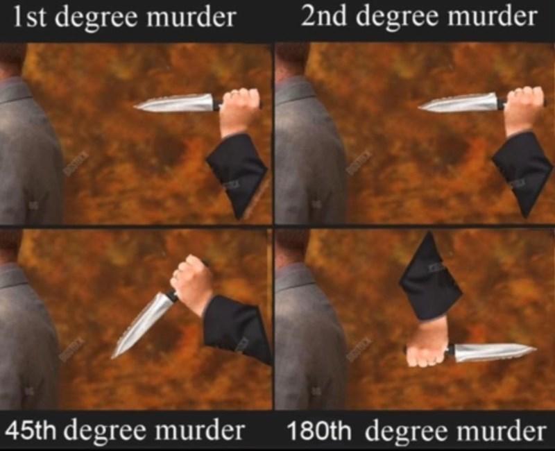 Photo caption - 1st degree murder 2nd degree murder DOSTRCN DOTOE 72 45th degree murder DOSTOCK 180th degree murder