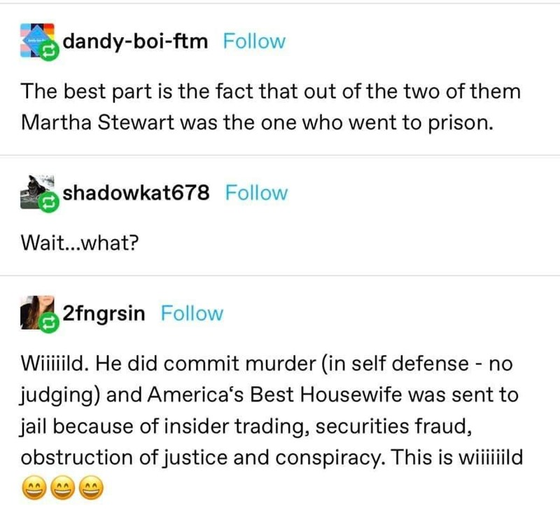 Text - dandy-boi-ftm Follow The best part is the fact that out of the two of them Martha Stewart was the one who went to prison. shadowkat678 Follow Wait...what? 2fngrsin Follow Wiiiild. He did commit murder (in self defense - no judging) and America's Best Housewife was sent to jail because of insider trading, securities fraud, obstruction of justice and conspiracy. This is wiiild