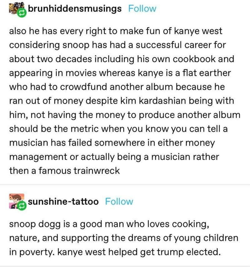 Text - brunhiddensmusings Follow also he has every right to make fun of kanye west considering snoop has had a successful career for about two decades including his own cookbook and appearing in movies whereas kanye is a flat earther who had to crowdfund another album because he ran out of money despite kim kardashian being with him, not having the money to produce another album should be the metric when you know you can tell a musician has failed somewhere in either money management or actually
