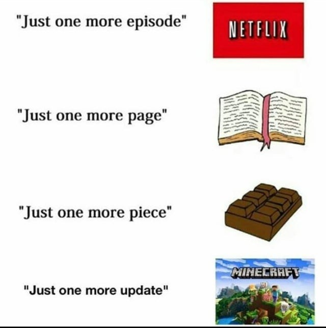 """Text - """"Just one more episode"""" NETFLIX """"Just one more page"""" """"Just one more piece"""" MINECRAFT """"Just one more update"""""""