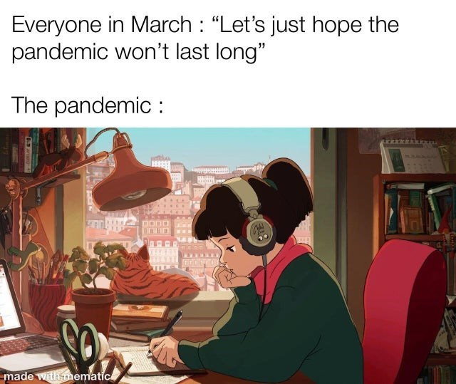 """Cartoon - Everyone in March : """"Let's just hope the pandemic won't last long"""" The pandemic : made with mematic"""