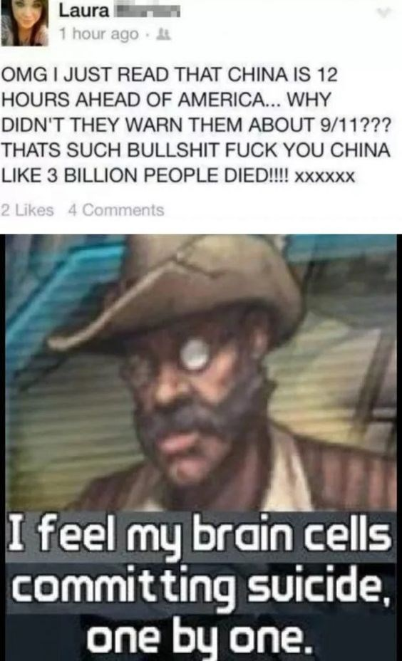 Text - Laura 1 hour ago OMG I JUST READ THAT CHINA IS 12 HOURS AHEAD OF AMERICA... WHY DIDN'T THEY WARN THEM ABOUT 9/11??? THATS SUCH BULLSHIT FUCK YOU CHINA LIKE 3 BILLION PEOPLE DIED!!!! xxxxxx 2 Likes 4 Comments I feel my brain cells committing suicide, one by one.