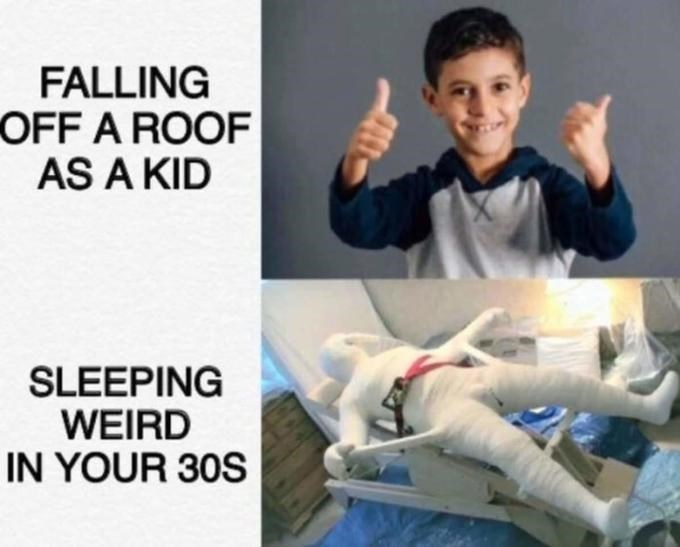 Product - FALLING OFF A ROOF AS A KID SLEEPING WEIRD IN YOUR 30S
