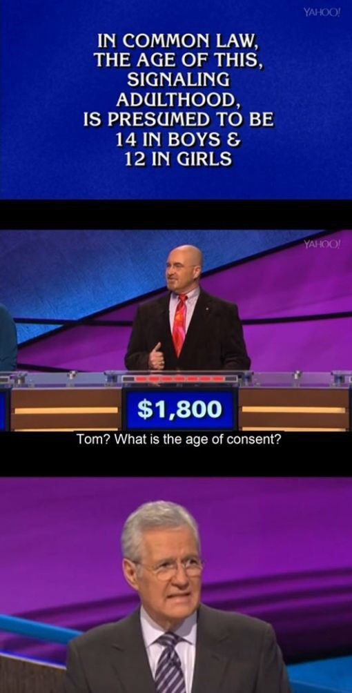 News - YAHOO! IN COMMON LAW, THE AGE OF THIS, SIGNALING ADULTHOOD, IS PRESUMED TO BE 14 IN BOYS & 12 IN GIRLS YAHOO! $1,800 Tom? What is the age of consent?