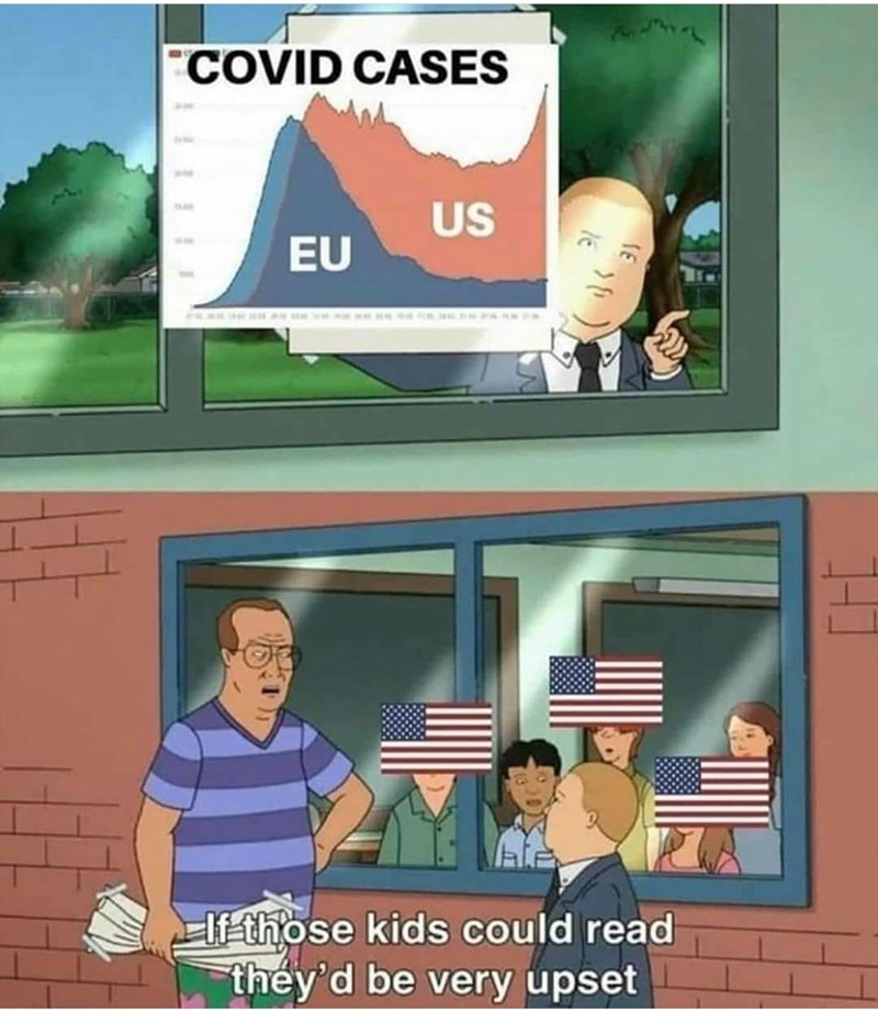 Cartoon - COVID CASES US EU If those kids could read they'd be very upset