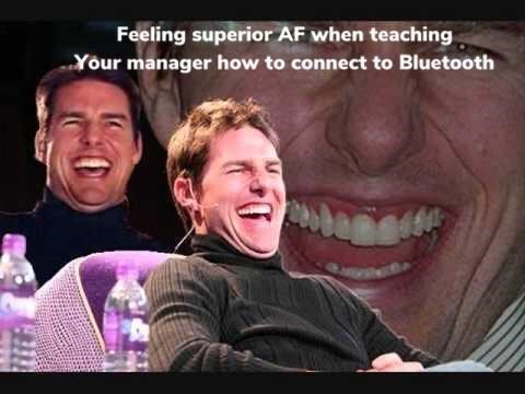 Facial expression - Feeling superior AF when teaching Your manager how to connect to Bluetooth