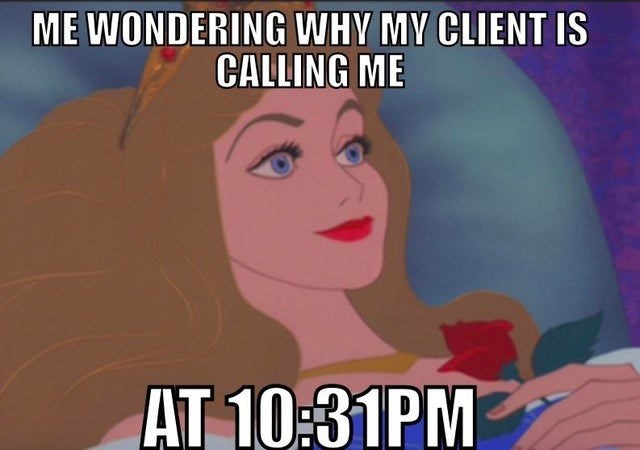 Animated cartoon - ME WONDERING WHY MY CLIENT IS CALLING ME AT 10:31PM
