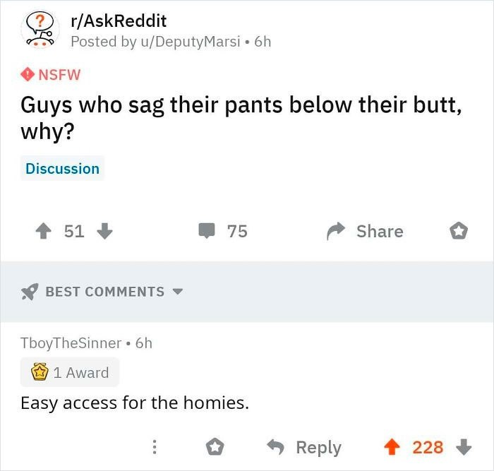 Text - r/AskReddit Posted by u/DeputyMarsi • 6h NSFW Guys who sag their pants below their butt, why? Discussion 1 51 75 Share BEST COMMENTS TboyTheSinner • 6h 1 Award Easy access for the homies. Reply 个 228 LO