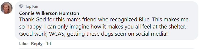 Text - Top Fan Connie Wilkerson Humston Thank God for this man's friend who recognized Blue. This makes me so happy, I can only imagine how it makes you all feel at the shelter. Good work, WCAS, getting these dogs seen on social media! Like · Reply · 1d