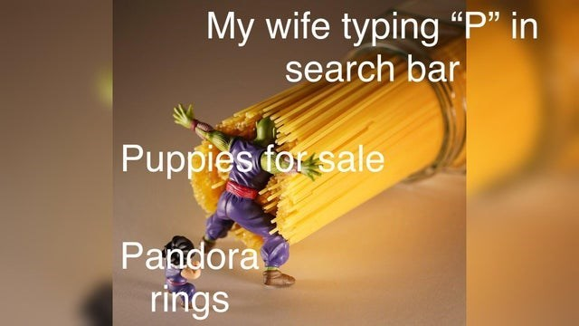 """Yellow - My wife typing """"P"""" in search bar Puppies tor sale Pandora rings"""