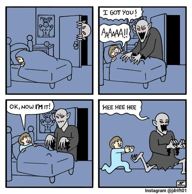 Cartoon - I GOT YOU! PoWER GUY AAAA!! OK, NOW I'M IT! SHEE HEE HEE Instagram @jdrift01 一