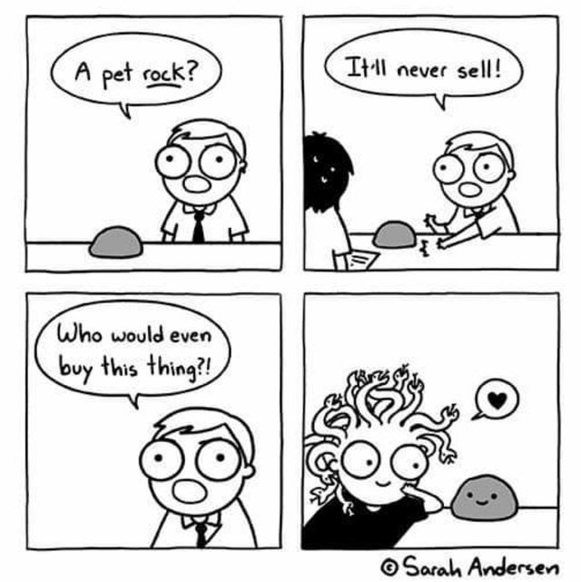 White - Itll never sell! A pet rock? Who would even buy this thing?! O Sarah Andersen