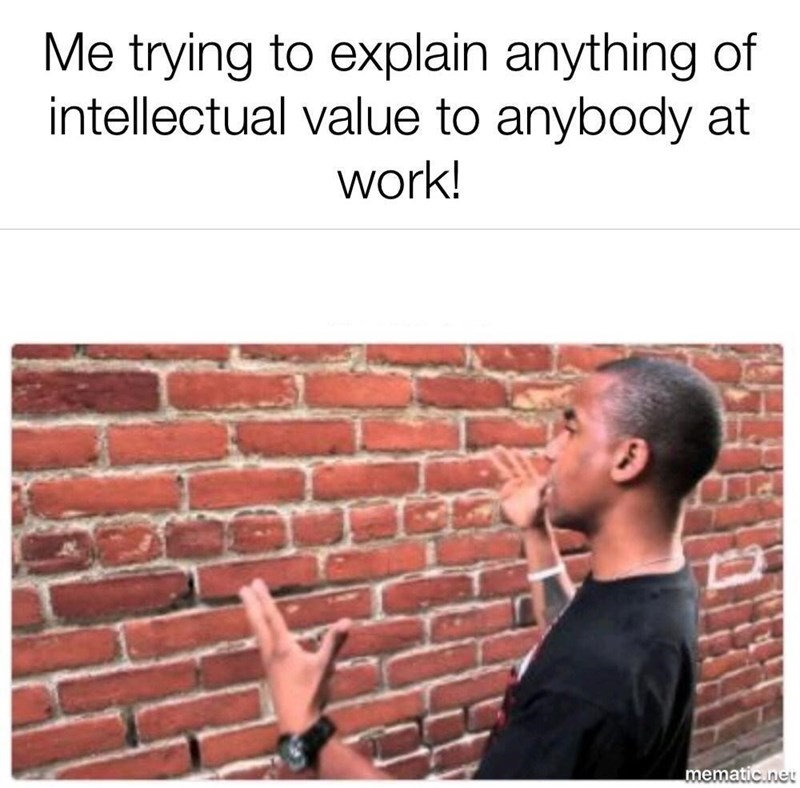 Text - Me trying to explain anything of intellectual value to anybody at work! mematic.neU