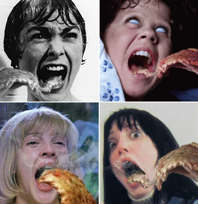 Dank Memes, Halloween Memes, Horror Movies, Pizza | pizza slices edited into photos of women screaming in horror movies The Shining The Exorcist Scream