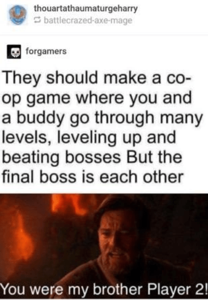 Text - thouartathaumaturgeharry O battlecrazed-axe-mage O forgamers They should make a co- op game where you and a buddy go through many levels, leveling up and beating bosses But the final boss is each other You were my brother Player 2!