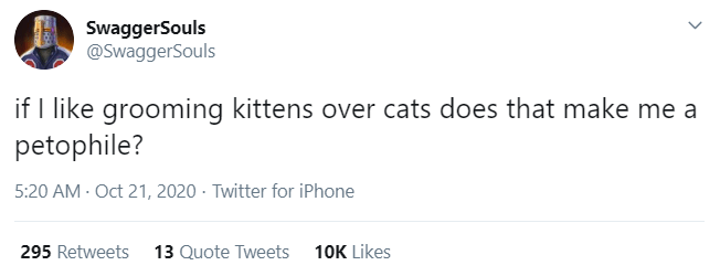 Text - SwaggerSouls @SwaggerSouls if I like grooming kittens over cats does that make me a petophile? 5:20 AM - Oct 21, 2020 · Twitter for iPhone 295 Retweets 13 Quote Tweets 10K Likes >