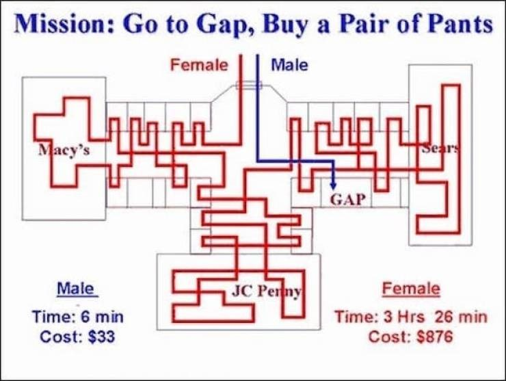 Text - Mission: Go to Gap, Buy a Pair of Pants Female Male Macy's Sears GAP Male JC Perny Female Time: 6 min Time: 3 Hrs 26 min Cost: $33 Cost: $876