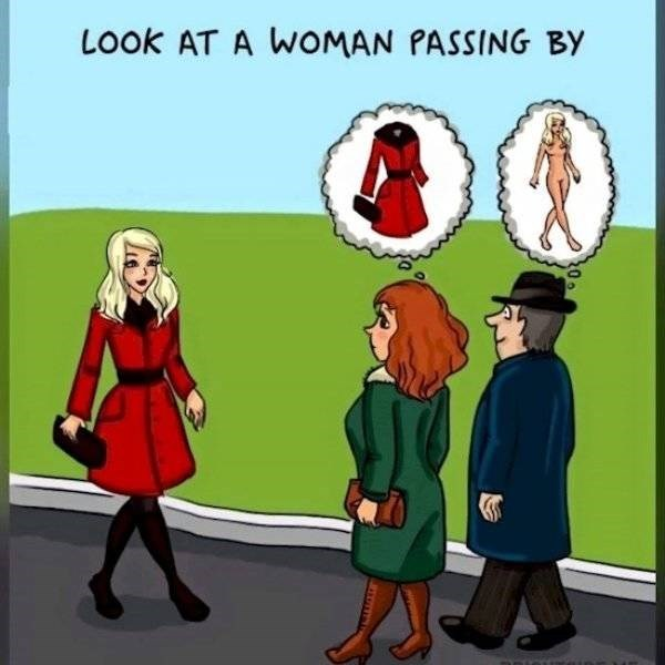 Cartoon - LOOK AT A WOMAN PASSING BY JUTTIEITON