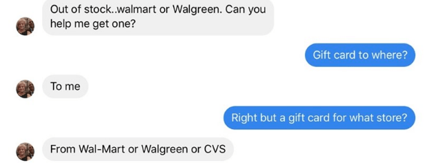 Text - Out of stock.walmart or Walgreen. Can you help me get one? Gift card to where? To me Right but a gift card for what store? From Wal-Mart or Walgreen or CVS