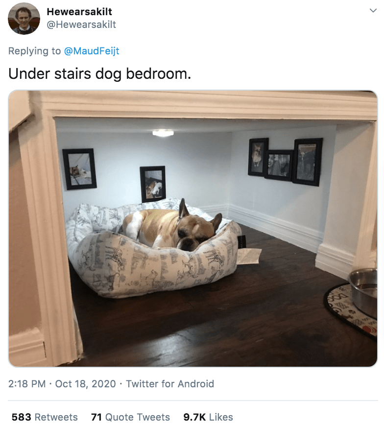 Room - Hewearsakilt @Hewearsakilt Replying to @MaudFeijt Under stairs dog bedroom. 225 2:18 PM · Oct 18, 2020 · Twitter for Android 583 Retweets 71 Quote Tweets 9.7K Likes