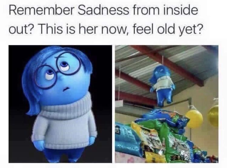 Cartoon - Remember Sadness from inside out? This is her now, feel old yet?