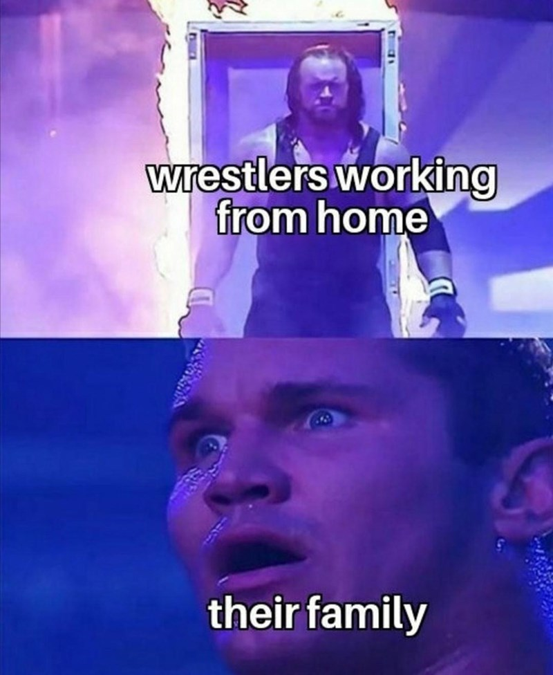 Purple - wrestlers working from home their family