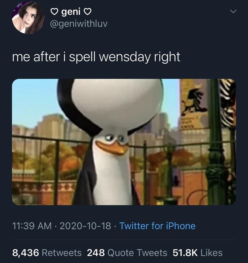 Bird - ♡ geni O @geniwithluv me after i spell wensday right 11:39 AM · 2020-10-18 · Twitter for iPhone 8,436 Retweets 248 Quote Tweets 51.8K Likes