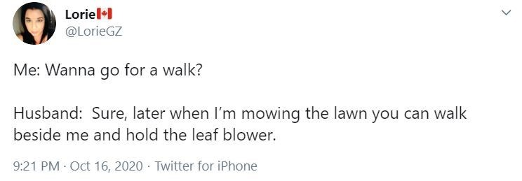 Text - Loriel+ @LorieGZ Me: Wanna go for a walk? Husband: Sure, later when I'm mowing the lawn you can walk beside me and hold the leaf blower. 9:21 PM Oct 16, 2020 · Twitter for iPhone