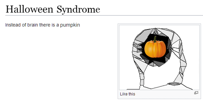 Line - Halloween Syndrome Instead of brain there is a pumpkin Like this