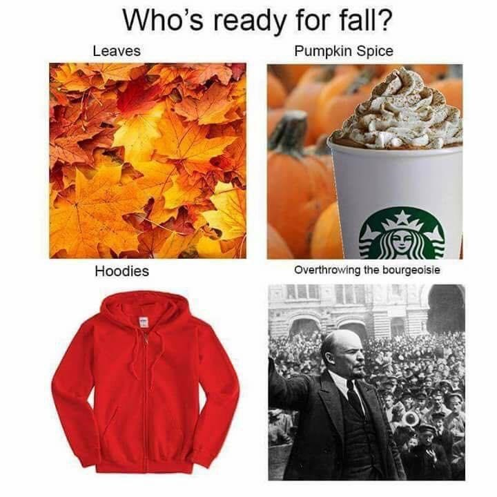 Leaf - Who's ready for fall? Leaves Pumpkin Spice Hoodies Overthrowing the bourgeoisie