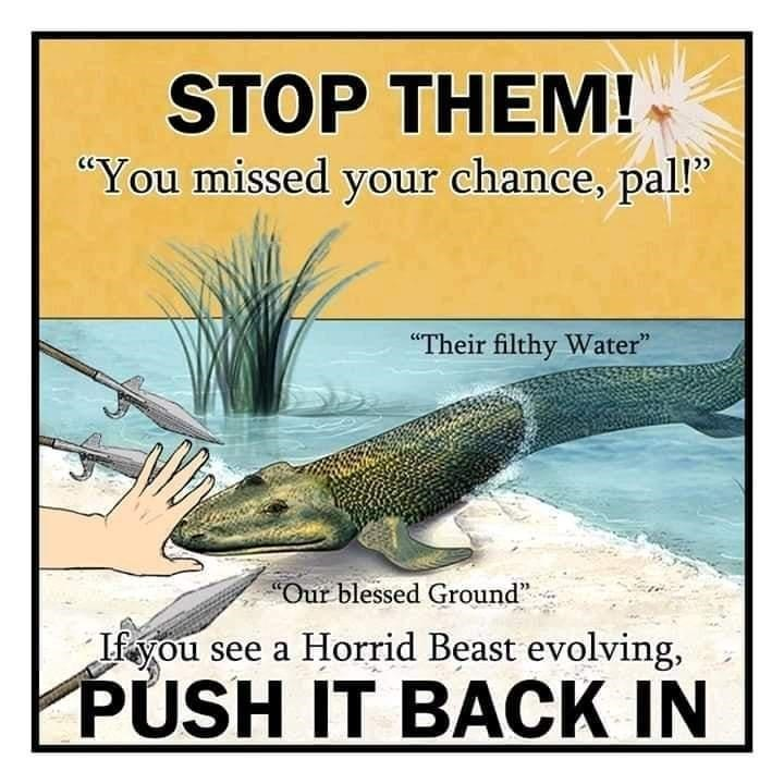 """Fish - STOP THEM! """"You missed your chance, pal!"""" """"Their filthy Water"""" """"Our blessed Ground"""" Ifyou see a Horrid Beast evolving, PÚSH IT BACK IN"""