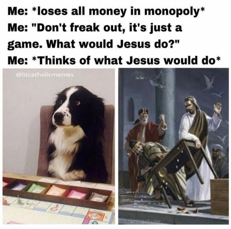 """Dog - Me: *loses all money in monopoly* Me: """"Don't freak out, it's just a game. What would Jesus do?"""" Me: *Thinks of what Jesus would do* @litcatholicmemes"""