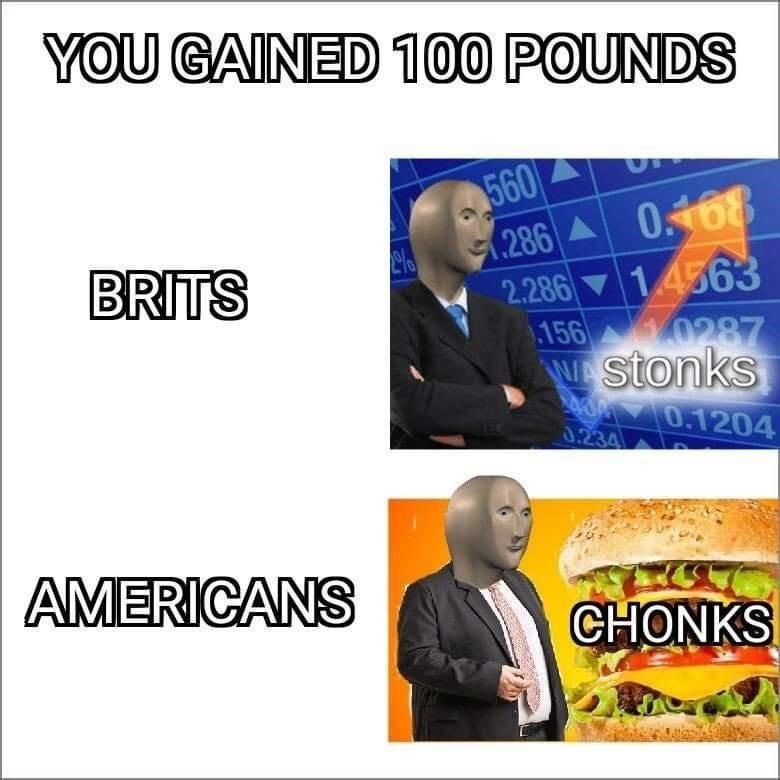 Text - YOU GAINED 100 POUNDS 560 286 A 068 1.4563 BRITS 2.286 .156 0287 Nstonks A0 0.1204 0.234 AMERICANS CHONKS