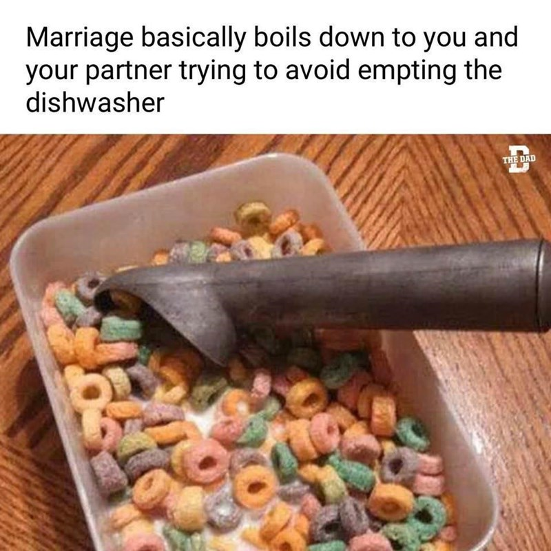 Food - Marriage basically boils down to you and your partner trying to avoid empting the dishwasher THE DAD
