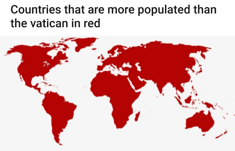 Red - Countries that are more populated than the vatican in red