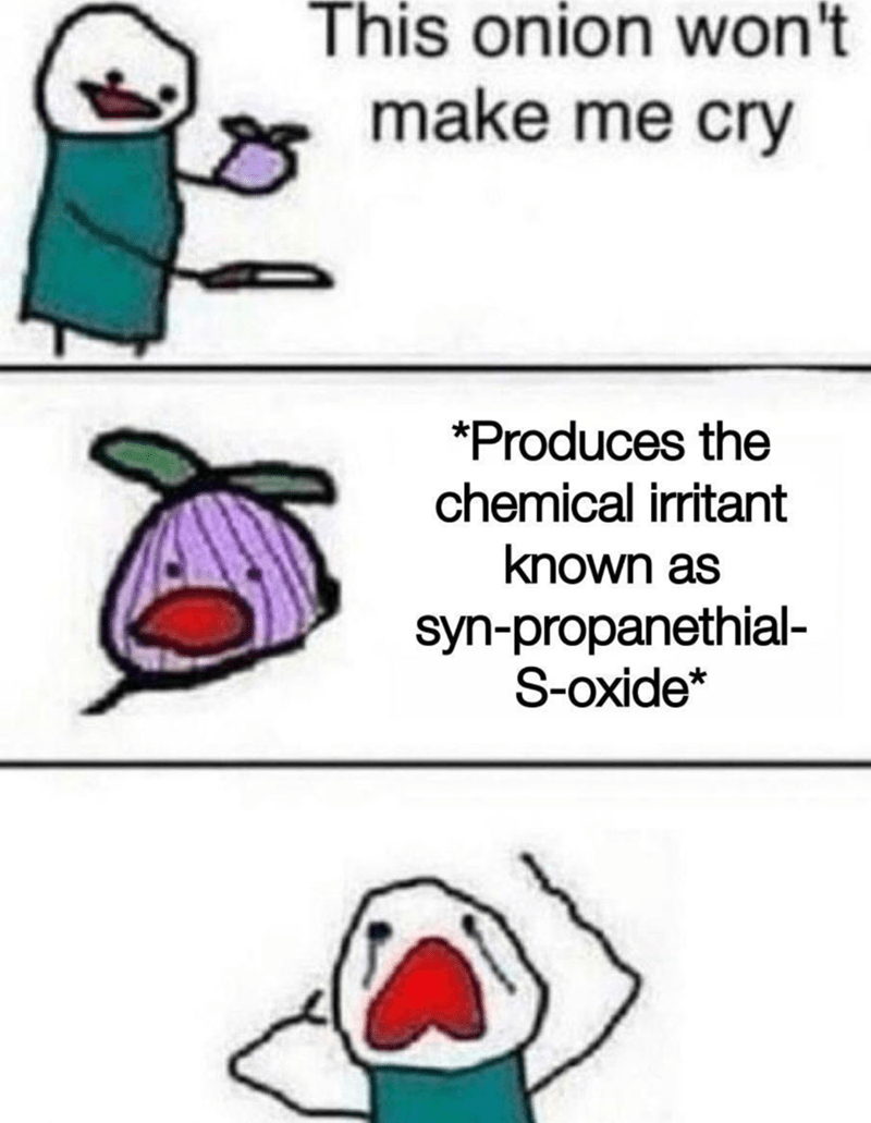 Text - This onion won't make me cry *Produces the chemical irritant known as syn-propanethial- S-oxide*