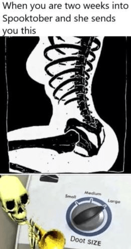 Joint - When you are two weeks into Spooktober and she sends you this Medium Small Large Doot SIZE