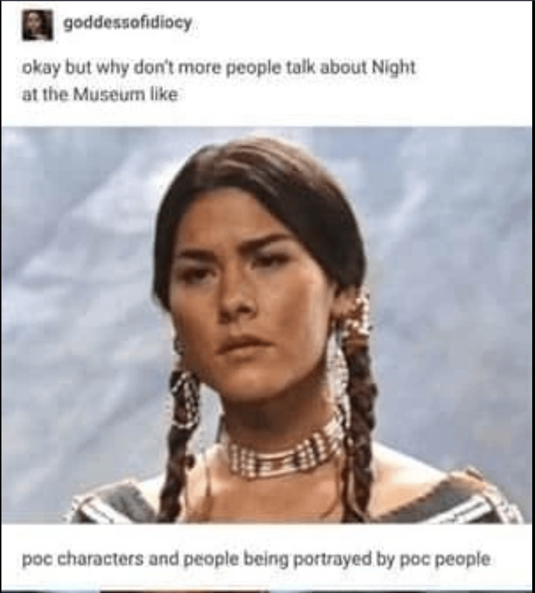 Hair - goddessofidiocy okay but why don't more people talk about Night at the Museum like poc characters and people being portrayed by poc people