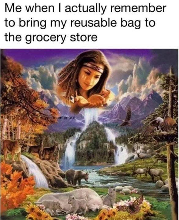 Nature - Me when I actually remember to bring my reusable bag to the grocery store wpe to enter text