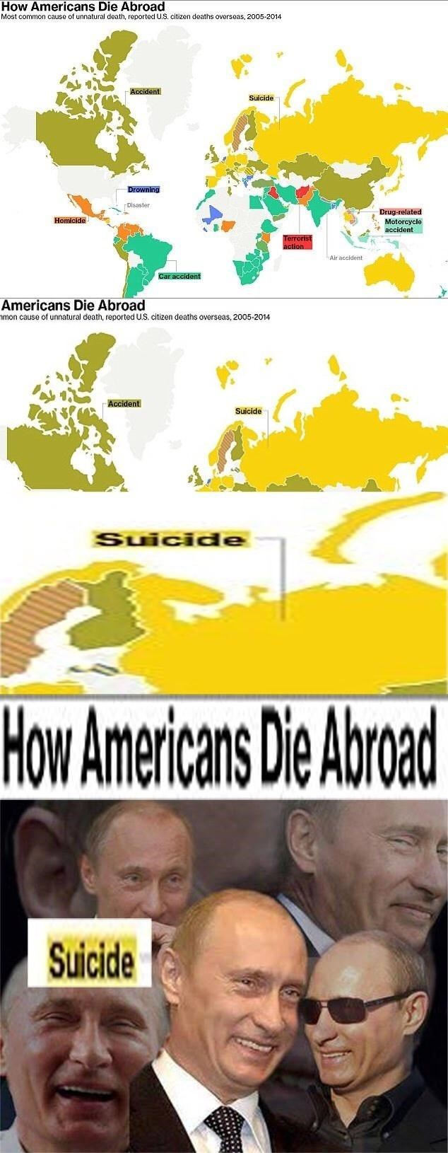 Text - How Americans Die Abroad Most common cause of unnatural death, reported U.S. citizen deaths overseas, 2005-2014 Accident Suicide Drowning Disaster Drug-related Motorcycle accident Homicide Terrorist action Air accident Car accident Americans Die Abroad nmon cause of unnatural death, reported U.S. citizen deaths overseas, 2005-2014 Accident Suicide Suicide How Americans Die Abroad Suicide