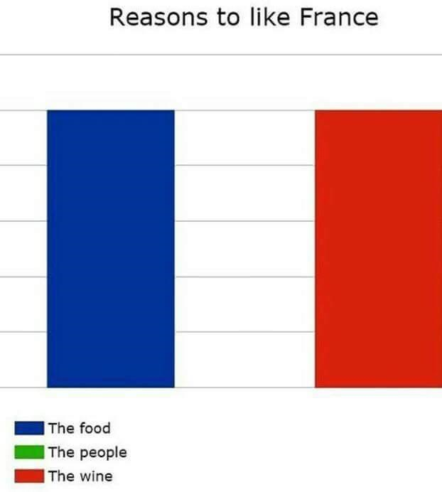 Text - Reasons to like France The food The people The wine
