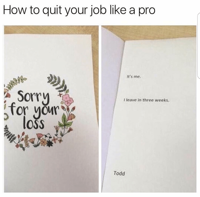 Text - How to quit your job like a pro It's me. Sorry for your lošs I leave in three weeks. Todd