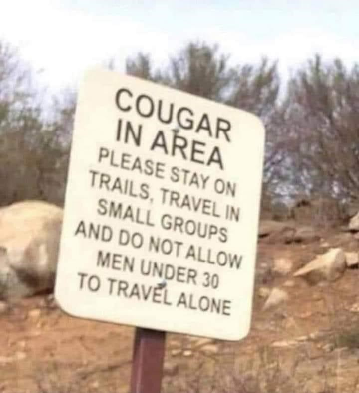 Nature - COUGAR IN AREA PLEASE STAY ON TRAILS, TRAVEL IN SMALL GROUPS AND DO NOT ALLOW MEN UNDER 30 TO TRAVEL ALONE