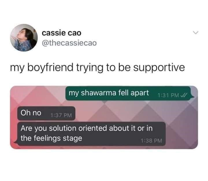 Text - cassie cao @thecassiecao my boyfriend trying to be supportive my shawarma fell apart 1:31 PM / Oh no 1:37 PM Are you solution oriented about it or in the feelings stage 1:38 PM >