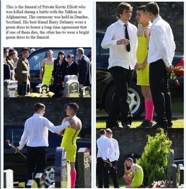 Collage - This is the funeral of Private Kevin Elliott who was killed during a battle with the Taliban in Afghanistan. The ceremony was held in Dundee, Scotland. His best friend Barry Delaney wore a green dress to honor a long time agreement that if one of them dies, the other has to wear a bright green dress to the funeral.
