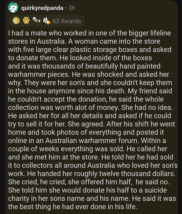 Text - quirkyredpanda · 3h 63 Awards I had a mate who worked in one of the bigger lifeline stores in Australia. A woman came into the store with five large clear plastic storage boxes and asked to donate them. He looked inside of the boxes and it was thousands of beautifully hand painted warhammer pieces. He was shocked and asked her why. They were her son's and she couldn't keep them in the house anymore since his death. My friend said he couldn't accept the donation, he said the whole collecti